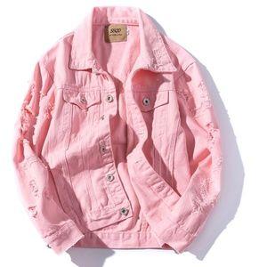 Jackets & Blazers - Pink Distressed Jeans Jacket